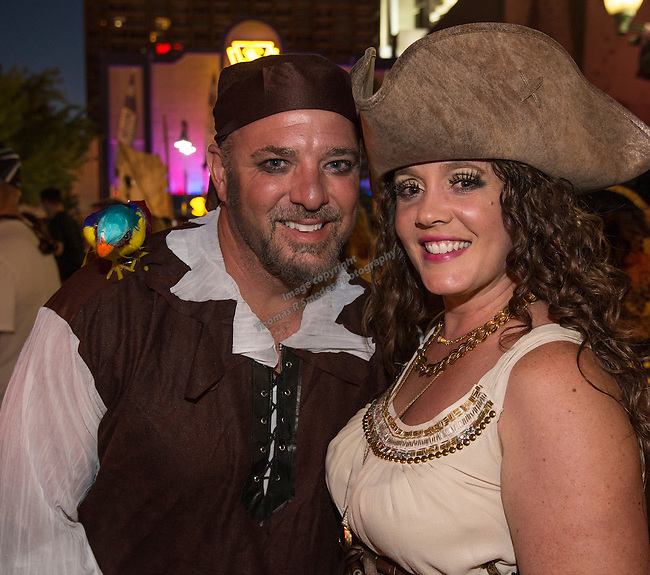 Steve and Amy during the Pirate Crawl held in downtown Reno on Saturday night, August 13, 2016.