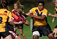 Kere Matua of Manurewa looks to tackle. Premier Women's Rugby League, Papakura Sisters v Manurewa Wahine, Prince Edward Park, Auckland, Sunday 13th August 2017. Photo: Simon Watts / www.phototek.nz