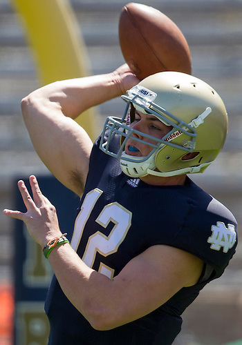 April 21, 2012:  Notre Dame Fighting Irish quarterback Andrew Hendrix (12) passes the ball in first quarter action of the Notre Dame Blue-Gold Spring game at Notre Dame Stadium in South Bend, Indiana.  The Defense topped the Offense by a score of 42-31.