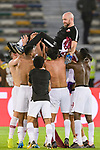 Players of Qatar celebrates with Qatar Head Coach Felix Sanchez Bas (top) after winning the AFC Asian Cup UAE 2019 Quarter Finals match between Qatar (QAT) and South Korea (KOR) at Zayed Sports City Stadium  on 25 January 2019 in Abu Dhabi, United Arab Emirates. Photo by Marcio Rodrigo Machado / Power Sport Images