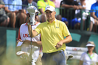 Jordan Spieth (USA) on the 1st tee to start his match during Saturday's Round 3 of the 117th U.S. Open Championship 2017 held at Erin Hills, Erin, Wisconsin, USA. 17th June 2017.<br /> Picture: Eoin Clarke | Golffile<br /> <br /> <br /> All photos usage must carry mandatory copyright credit (&copy; Golffile | Eoin Clarke)