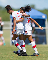 Bradenton, FL - Sunday, June 12, 2018: Jade Rose, Andersen Williams, goal celebration prior to a U-17 Women's Championship 3rd place match between Canada and Haiti at IMG Academy. Canada defeated Haiti 2-1.