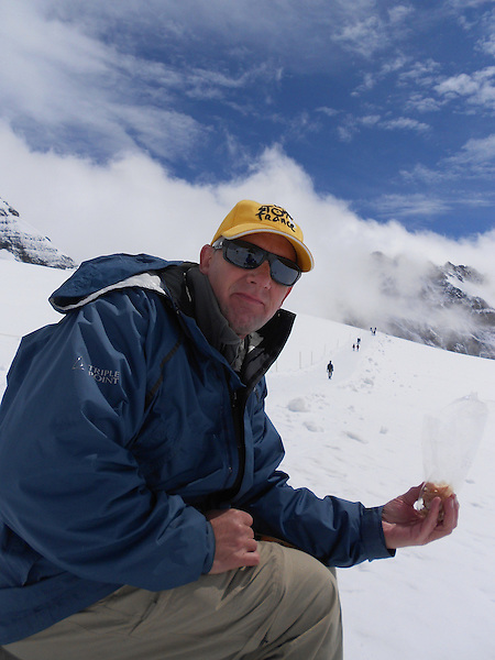 John lunching near the Eiger and Jungfrau, above Lauterbrunnen, Switzerland.
