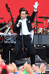 British singer and pop star Robbie Williams performs 'Swings both ways' at Top of the Mountain Concert in Ischgl, Austria.