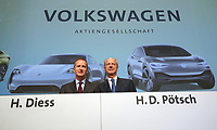dpatop - 03 May 2018, Germany, Berlin: Herbert Diess (L), CEOof Volkswagen AG, and Hans Dieter Poetsch, chairman of the supervisory board at Volkswagen AG, pictured at the Volkswagen AG annual general meetingat the Messegelaende in Berlin. Photo: Wolfgang Kumm/dpa /MediaPunch ***FOR USA ONLY***