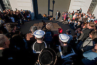 111008-N-DR144-867 SAN FRANCISCO (Oct. 8, 2011) Sailors assigned to the Nimitz-class aircraft Carrier USS Carl Vinson (CVN 70) watch street performers while exploring the waterfront on liberty. Carl Vinson is anchored in San Francisco, the ship's original homeport, participating in Fleet Week festivities.  U.S. Navy photo by Mass Communication Specialist 2nd Class James R. Evans (RELEASED)