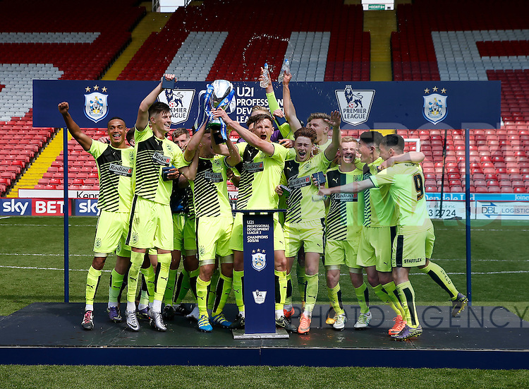 Huddersfield Town U21 team celebrate with the trophy during the PDL U21 Final at Bramall Lane Sheffield. Photo credit should read: Simon Bellis/Sportimage