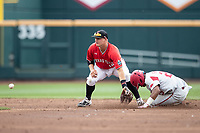 Texas Tech Red Raiders shortstop Josh Jung (16) awaits the throw at second during a steal attempt during Game 5 of the NCAA College World Series against the Arkansas Razorbacks on June 17, 2019 at TD Ameritrade Park in Omaha, Nebraska. Texas Tech defeated Arkansas 5-4. (Andrew Woolley/Four Seam Images)