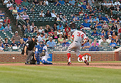 Washington Nationals left fielder Bryce Harper (34) is hit by a pitch in the thirteenth inning against the Chicago Cubs at Wrigley Field in Chicago, Illinois on Thursday, August 22, 2013.  The Nationals won the game 5 - 4 in thirteen innings.<br /> Credit: Ron Sachs / CNP