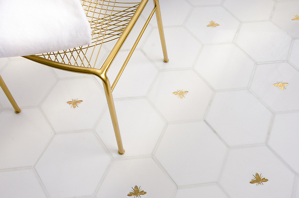 Napoleon and Bonaparte, a waterjet stone mosaic, shown in polished Calacatta, Thassos, and Gold Glass.