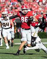 ATHENS, GA - SEPTEMBER 7: John FitzPatrick #86 tries to elude Tay Carothers #44 after catching a pass during a game between Murray State Racers and University of Georgia Bulldogs at Sanford Stadium on September 7, 2019 in Athens, Georgia.