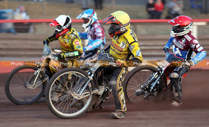 Heat 12: Michal Szczepaniak (yellow), Grzegorz Zengota (black & white), Seb Ulamek (red) and Richard Lawson (blue) - Lakeside Hammers vs Coventry Bees, Elite League Speedway at the Arena Essex Raceway, Pufleet - 03/06/13 - MANDATORY CREDIT: Rob Newell/TGSPHOTO - Self billing applies where appropriate - 0845 094 6026 - contact@tgsphoto.co.uk - NO UNPAID USE