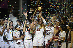 DALLAS, TX - APRIL 2: The South Carolina Gamecocks celebrate after defeating the Mississippi State Lady Bulldogs during the 2017 Women's Final Four at American Airlines Center on April 2, 2017 in Dallas, Texas. (Photo by Evert Nelson/NCAA Photos via Getty Images)