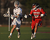 Tyler Wuchte #33 of Garden City, left, gets pressured by Max Verch #15 of Syosset during a non-league varsity boys lacrosse game at Garden City High School on Tuesday, Mar. 22, 2016. Syosset won by a score of 6-3.