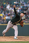 Oakland Athletics pitcher Sonny Gray pitches against the Seattle Mariners in the second inning September 13, 2014 at Safeco Field in Seattle.   UPI/Jim Bryant