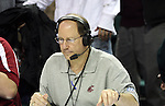 Bud Nameck, from KXLY 920 Radio in Spokane, Washington, is the radio announcer for Washington State University basketball games, and he is the sideline reporter for WSU football games.  Here he is shown in action in WSU's annual Seattle game at Key Arena, on December 13, 2008, during the Cougs 70-51 victory over Montana State.