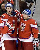 Stepan Novotny (Czech Republic - 16), Jan Kana (Czech Republic - 9) - Team Canada defeated the Czech Republic 8-1 on the evening of Friday, December 26, 2008, at Scotiabank Place in Kanata (Ottawa), Ontario during the 2009 World Juniors U20 Championship.