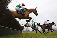 Race winner Denali Highway ridden by Andrew Thornton (L) in jumping action in the John Bigg Oxo Handicap Chase