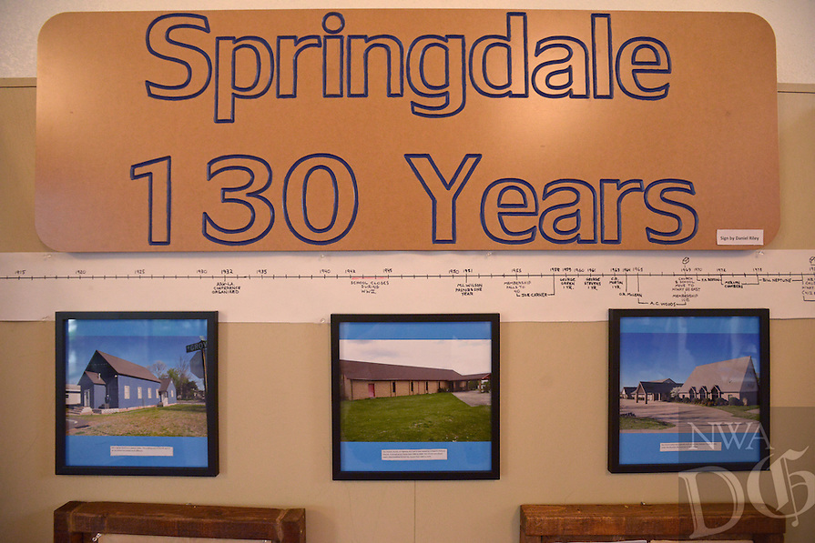 NWA Democrat-Gazette/BEN GOFF @NWABENGOFF<br /> A display of historical items and photos commemorates the 130th anniversary of the congregation on Friday May 20, 2016 at Springdale Adventist Fellowship. Photos show, from left, the three buildings that have been home to the church over it's history.