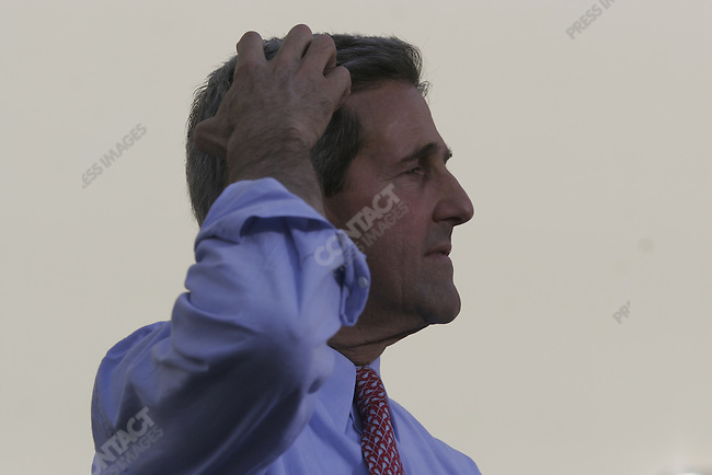 Senator John Kerry speaks to a crowd at the Meyer Amphitheater in West Palm Beach, FL. October 29, 2004.
