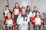 Derryquay National School.  Jasmine Gillan, Isabelle Lynch, Judith Waugh, Oisin O Galchoir, Aoife Murphy, Ciara Fitzgibbon and Jack Kavanagh award winners at the Scriobh Leabhar Presentation evening at the Eduction Centre Dromthacker Tralee