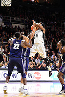Wednesday, January 4, 2016: Georgetown Hoyas guard Kaleb Johnson (32) blocks a shot by Providence Friars forward Rodney Bullock (5) during the NCAA basketball game between the Georgetown Hoyas and the Providence Friars held at the Dunkin Donuts Center, in Providence, Rhode Island. Providence defeats Georgetown 76-70 in regulation time. Eric Canha/CSM