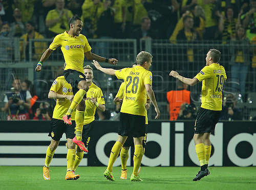 16.09.2014. Dortmund, Germany. Champions League group stages; Borussia Dortmund, versus Arsenal. Signal-Iduna-Park-Stadion Dortmund. Celebratons for the goal for 2-0 , scored by Pierre-Emerick Aubameyang (Dortmund)