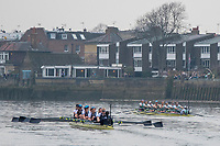 Greater London. United Kingdom, Right Cambridge women's Blue Boat heading Oxford.  University Boat Races , Cambridge University vs Oxford University. Putney to Mortlake,  Championship Course, River Thames, London. <br /> <br /> Saturday  24.03.18<br /> <br /> [Mandatory Credit  Intersport Images]