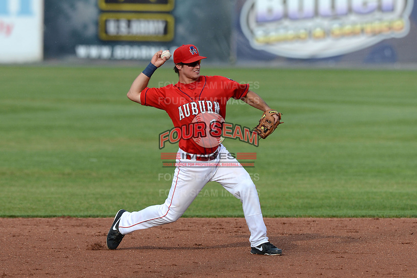 Auburn Doubledays second baseman Cody Dent (2) during the first game of a double header against the Batavia Muckdogs on August 28, 2013 at Falcon Park in Auburn, New York.  Auburn defeated Batavia 2-0.  (Mike Janes/Four Seam Images)