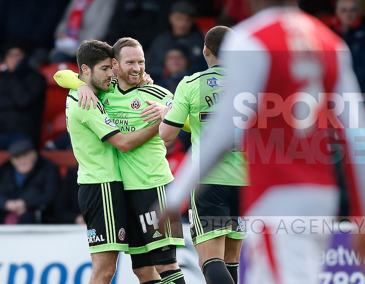 Matt Done of Sheffield Utd celebrates the first goal - English League One - Fleetwood Town vs Sheffield Utd - Highbury Stadium - Fleetwood - England - 5rd March 2016 - Picture Simon Bellis/Sportimage