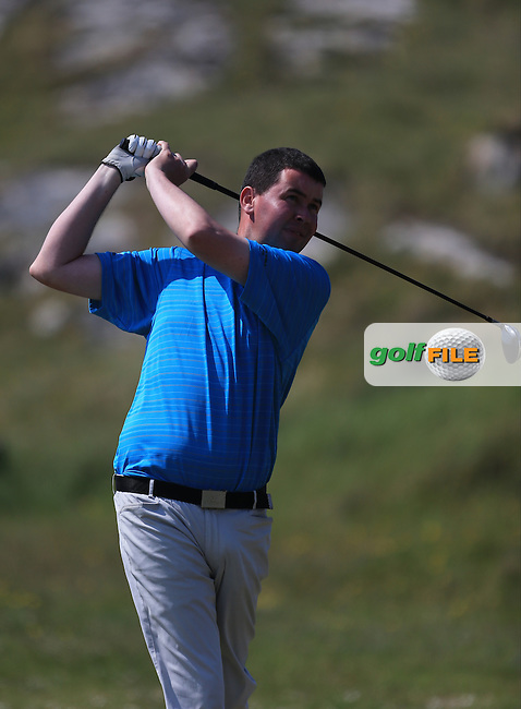 Damien Coyne (Tuam) on the 1st tee during the 2nd round of the Irish Amateur Close Championship 2013 at the Connemara Golf Club Sat  9/6/13<br /> Picture:  Thos Caffrey / www.golffile.ie