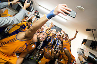 Herbalife Gran Canaria's player Pablo Aguilar takes a selfie with the team during the celebration of the victory at the final of Supercopa of Liga Endesa Madrid. September 24, Spain. 2016. (ALTERPHOTOS/BorjaB.Hojas) NORTEPHOTO.COM