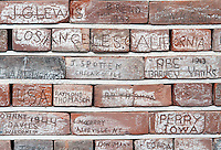 &copy;Si Barber 07739 472 922.  <br /> Bricks engraved  by USAAF Quartermasters at the Norfolk and Suffolk Air Museum, Bungay,UK.<br />  <br /> USAGE TERMS: ONE USE IN PRINT AND ONLINE. NO SYNDICATION, RETENTION, OR THIRD PARTY SALES. MINIMUM FEES APPLY