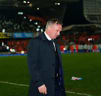16th November 2019; Windsor Park, Belfast, Antrim County, Northern Ireland; European Championships 2020 Qualifier, Northern Ireland versus Netherlands; Michael O'Neill Northern Ireland coach leaves the pitch after the full time whistle - Editorial Use