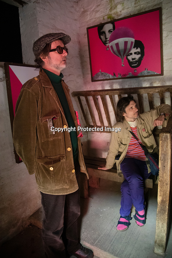 03/06/19<br /> <br /> Jarvis Cocker and Jeremy Deller watching 'You looking at me?' film at Lee Farm Cinebarn.<br /> <br /> A new art trail in the Peak District created by Jarvis Cocker, for the National Trust, follows in the footsteps of some of those who took part in the mass trespass onto Kinder Scout in 1932. <br /> <br /> With the aim of getting people to think about how to protect the landscape, the walk presents surprising artworks in places where guest artists have been inspired by the landscape and the trespass.<br /> <br /> The BE KINDER trail, will run from 6 July until 15 September and starts from Edale railway station, Derbyshire.<br /> <br /> All Rights Reserved: F Stop Press Ltd. +44(0)1335 418365   +44 (0)7765 242650 www.fstoppress.com
