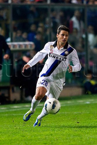 "10.26.2011. Bergamo, Italy.  Mauro Zarate (Inter). Italian ""Serie A"" match between Atalanta BC 1-1 Inter Milan  at Stadio Atleti Azzurri d'Italia in Bergamo, Italy.  Mandatory Credit: Actionplus"