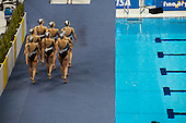 Italian team, Olympic Games Synchronised Swimming Qualification event in the Aquatics Centre, designed by architect Zaha Hadid, Olympic Park, London.