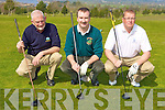 Tony Crowley Kenmare, Donal Pigott Kerry Captain and Finbar McGillicuddy Waterville enjoying the Kerry Captain's golf outing in Killorglin Golf club on Saturday..