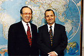 United States Secretary of Defense William Perry (left) held meetings with visiting Foreign Minister Ehud Barak (right) of Israel at the Pentagon on January 22, 1996. <br /> Mandatory Credit: Robert D. Ward / DoD via CNP