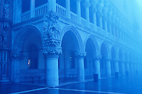 Italy, Venice, The Doge's Palce (Palazzo Ducale) exterior facade facing the Piazzetta San Marco on a foggy day