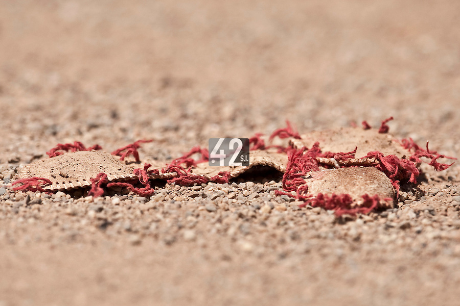 24 May 2009: Remains of a ball are seen during the 2009 challenge de France, a tournament with the best French baseball teams - all eight elite league clubs - to determine a spot in the European Cup next year, at Montpellier, France. Senart wins 8-5 over La Guerche.