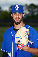 Biloxi Shuckers pitcher Jorge Lopez (28) poses for a photo before a game against the Birmingham Barons on May 24, 2015 at Joe Davis Stadium in Huntsville, Alabama.  Birmingham defeated Biloxi 6-4 as the Shuckers are playing all games on the road, or neutral sites like their former home in Huntsville, until the teams new stadium is completed in early June.  (Mike Janes/Four Seam Images)