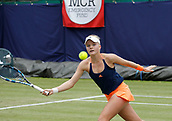 June 13th 2017, The Northern Lawn tennis Club, Manchester, England; ITF Womens tennis tournament; Harriet Dart (GBR) hits a forehand volley during her first round singles match against Magdalena Frech (POL); Frech won in three sets