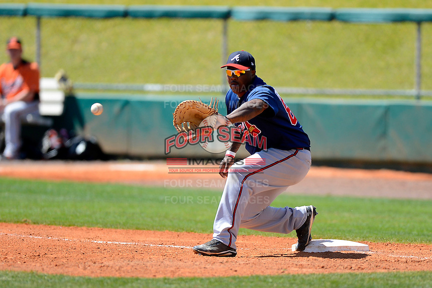 Atlanta Braves first baseman William Beckwith #85 during a minor league Spring Training game against the Baltimore Orioles at Al Lang Field on March 13, 2013 in St. Petersburg, Florida.  (Mike Janes/Four Seam Images)