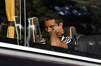 Wednesday 07 August 2013<br /> Pictured: Jordi Amat on the team bus departing from the Swansea Training ground.  <br /> Re: Swansea City FC travelling to Sweden for their Europa League 3rd Qualifying Round, Second Leg game against Malmo.