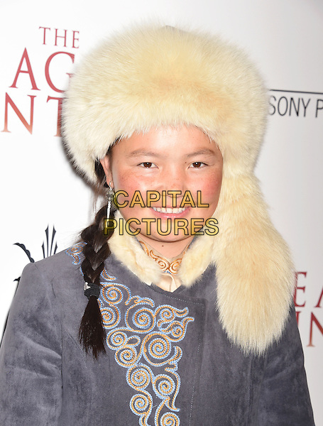 LOS ANGELES, CA - OCTOBER 18: Subject of the film Aisholpan Nurgaiv arrives at the Premiere Of Sony Pictures Classics' 'The Eagle Huntress' at Pacific Theaters at the Grove on October 18, 2016 in Los Angeles, California.<br /> CAP/ROT/TM<br /> &copy;TM/ROT/Capital Pictures