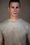 PFC Brent Kevin Bart. Tampa, Florida. 22. Charlie Co. 1st Battalion 12th Infantry Regiment, 4th Infantry Division. Photographed at Combat Outpost JFM in Zhari District, Kandahar, Afghanistan.