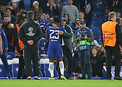12th September 2017, Stamford Bridge, London, England; UEFA Champions League Group stage, Chelsea versus Qarabag FK; Chelsea Manager Antonio Conte hugs Michy Batshuayi of Chelsea after the final whistle
