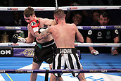 24th March 2018, O2 Arena, London, England; Matchroom Boxing, WBC Silver Heavyweight Title, Dillian Whyte versus Lucas Browne; Undercard fight between  Lewis Ritson versus Scott Cardle British Lightweight championship; Lewis Ritson lands a left hand to Scott Cardle during the fight