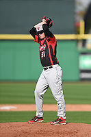Tampa Spartans pitcher Zac Favre (31) delivers a pitch during an exhibition game against the Philadelphia Phillies on March 1, 2015 at Bright House Field in Clearwater, Florida.  Tampa defeated Philadelphia 6-2.  (Mike Janes/Four Seam Images)